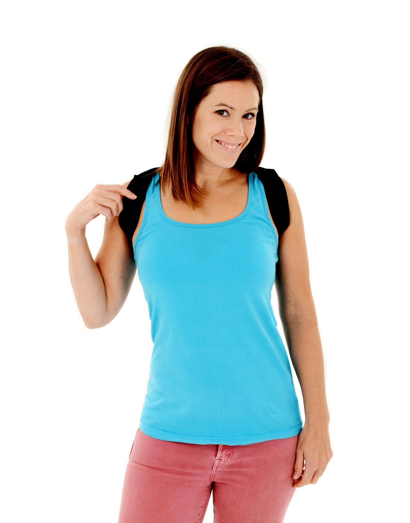 perfect posture kit woman wearing posture corrector
